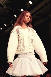 Xiao Li - white puffa angels with pink hair!