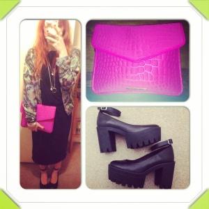 Dress: Topshop Bomber: Caslazur Shoes: Office Bag: Marc by Marc Jacobs
