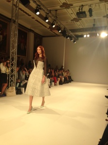 Favourite dress from Saturday, beautiful structured full skirt, angled bodice over mesh long sleeved top!